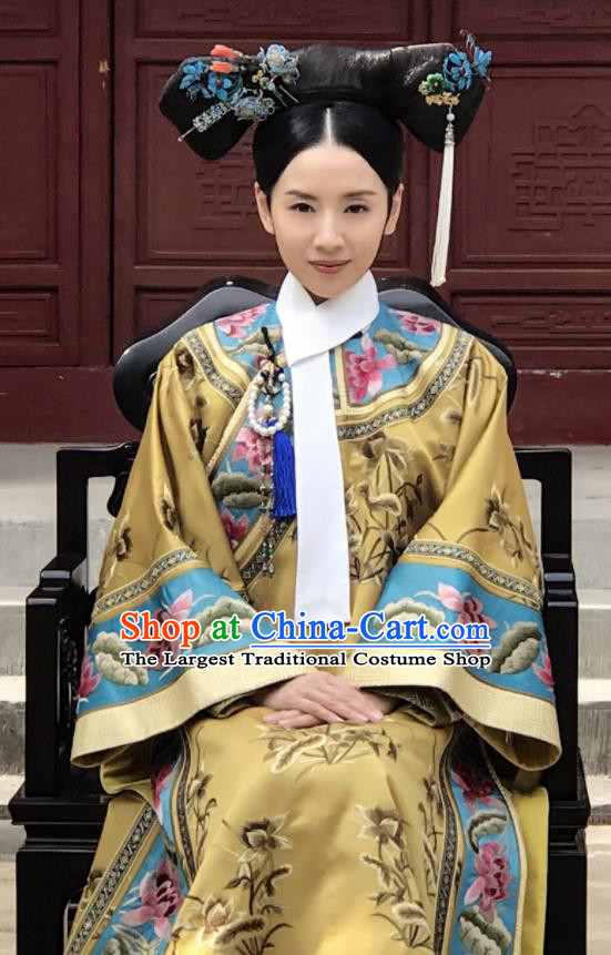 Ancient Chinese Qing Dynasty Manchu Empress Ruyi Royal Love in the Palace Embroidered Costumes and Headpiece Complete Set