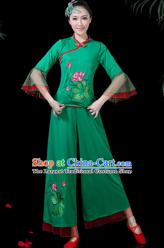 Chinese Classical Drum Dance Green Costume Traditional Folk Dance Lotus Dance Yangko Clothing for Women