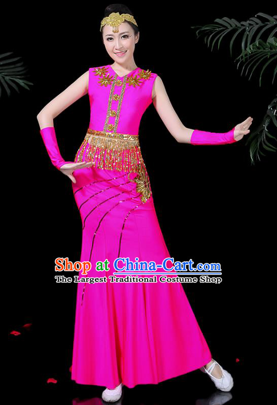 Chinese Traditional Classical Peacock Dance Rosy Dress Dai Minority Folk Dance Costume for Women
