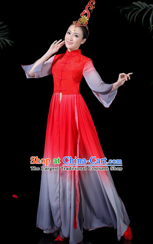 Chinese Classical Dance Red Dress Traditional Folk Dance Fan Dance Clothing for Women