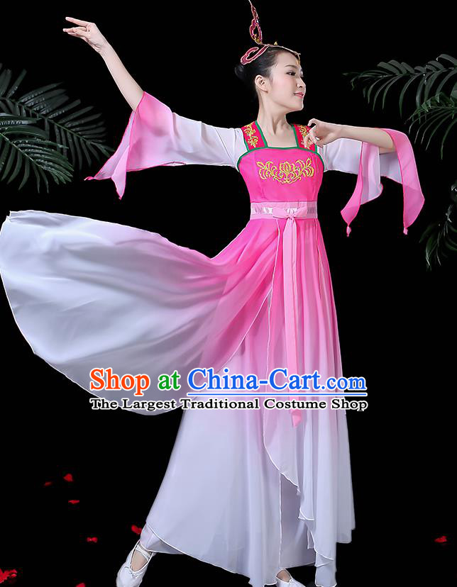 Chinese Classical Dance Pink Dress Traditional Folk Dance Fan Dance Clothing for Women