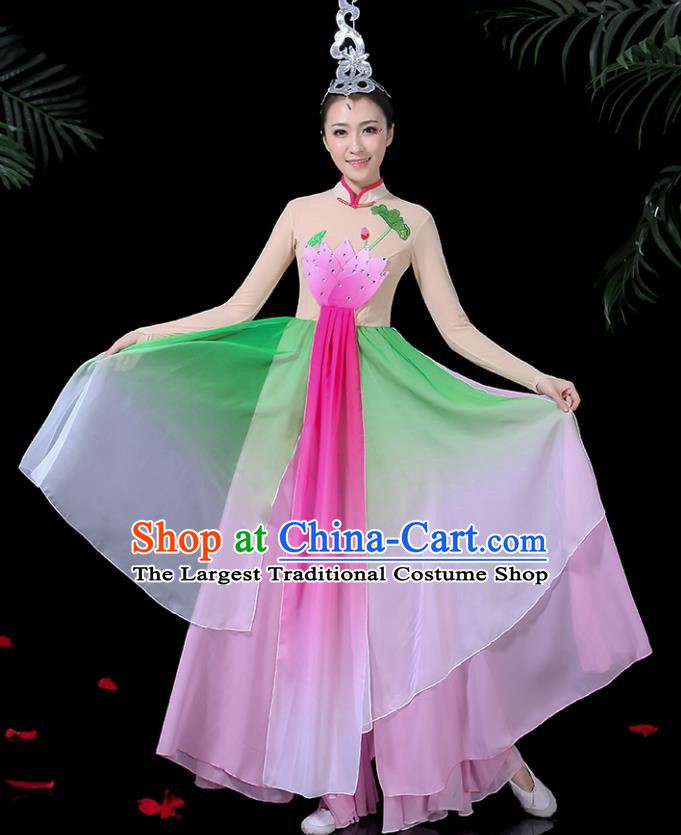 Chinese Classical Dance Lotus Dance Pink Dress Traditional Folk Dance Fan Dance Clothing for Women