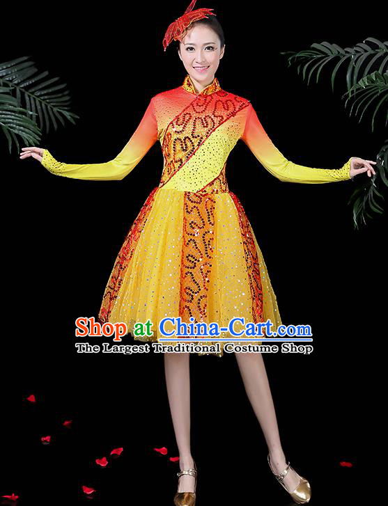Professional Modern Dance Costume Stage Performance Chorus Yellow Dress for Women