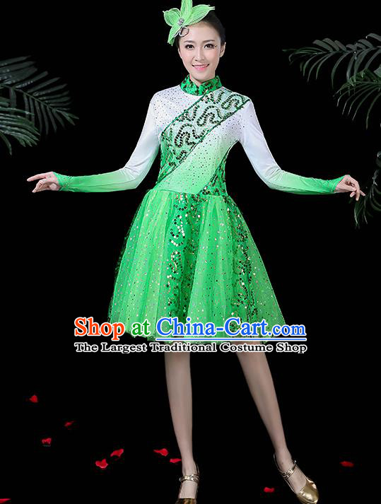 Professional Modern Dance Costume Stage Performance Chorus Green Dress for Women
