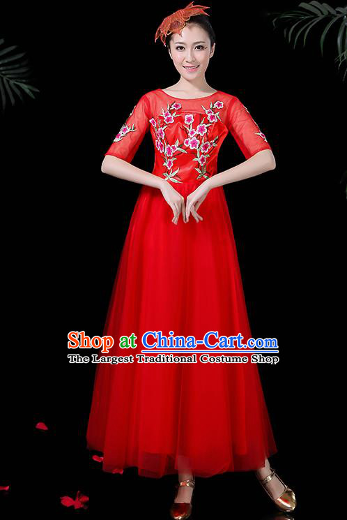 Professional Modern Dance Costume Stage Performance Chorus Red Veil Dress for Women
