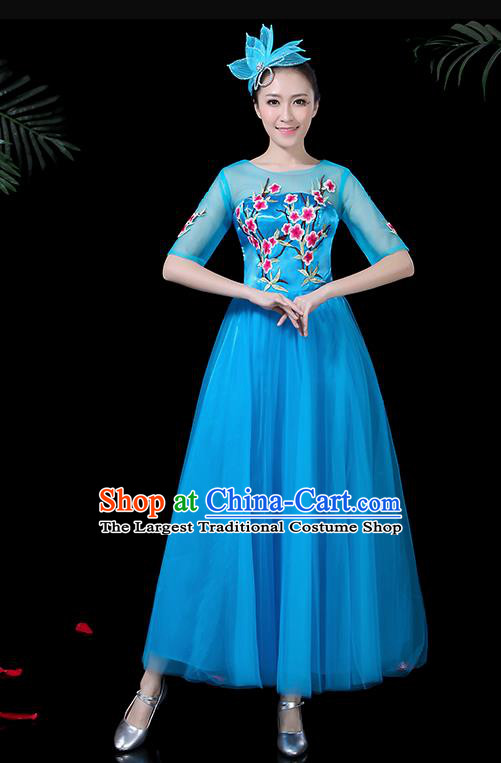 Professional Modern Dance Costume Stage Performance Chorus Blue Veil Dress for Women