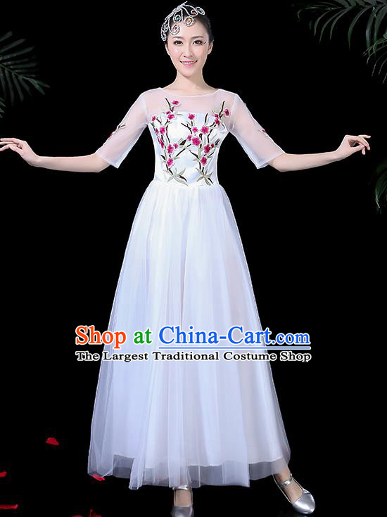 Professional Modern Dance Costume Stage Performance Chorus White Veil Dress for Women