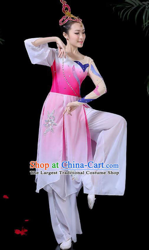 Chinese Classical Dance Pink Costume Traditional Umbrella Dance Fan Dance Clothing for Women
