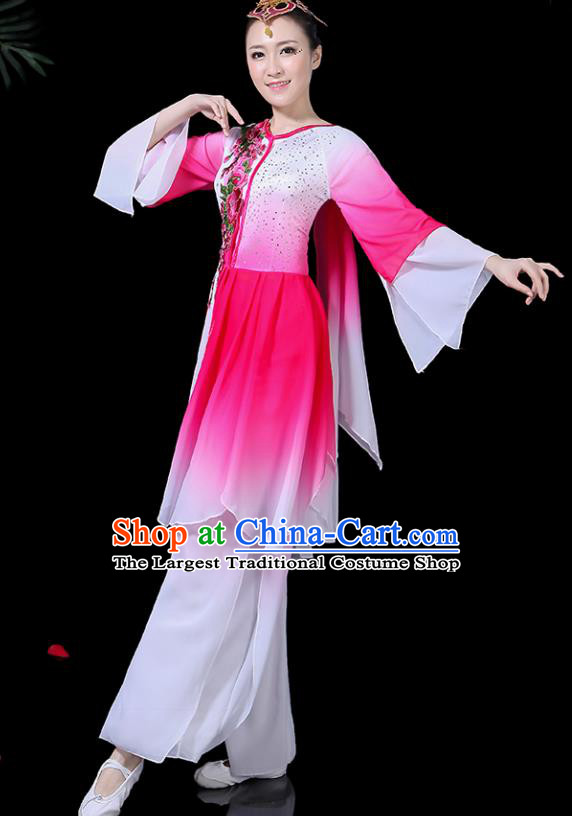 Traditional Fan Dance Rosy Dress Chinese Classical Dance Umbrella Dance Costume for Women