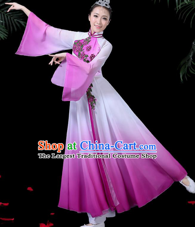 Chinese Classical Dance Costume Traditional Umbrella Dance Fan Dance Purple Dress for Women
