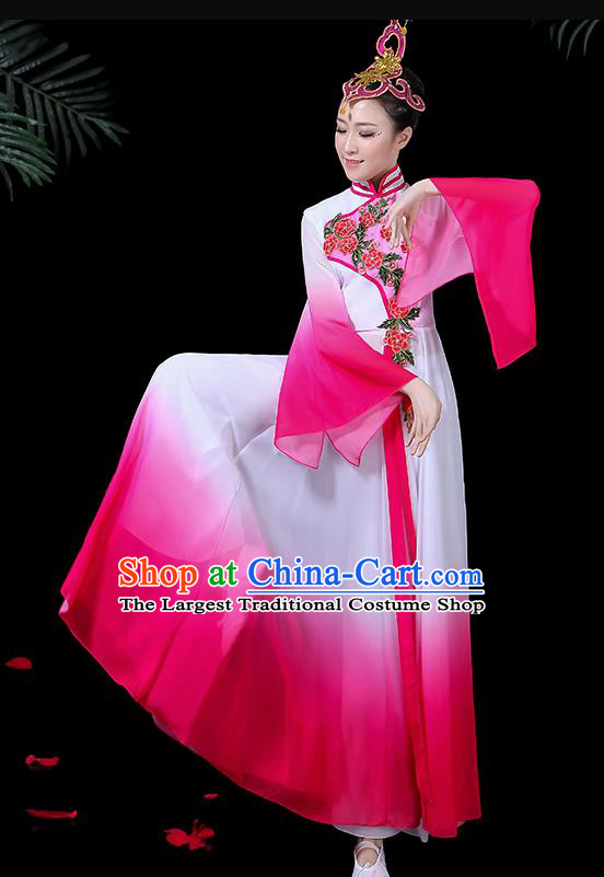 Chinese Classical Dance Costume Traditional Umbrella Dance Fan Dance Rosy Dress for Women