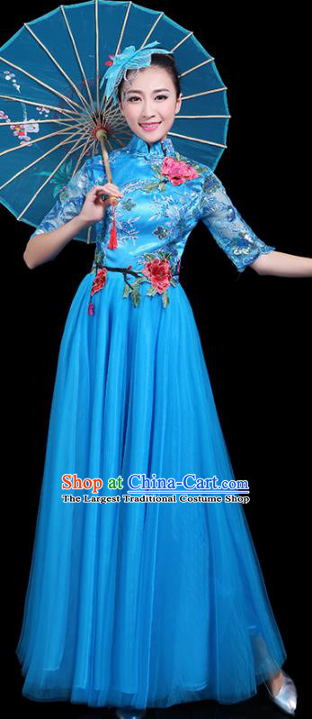 Professional Dance Modern Dance Costume Stage Performance Chorus Blue Veil Dress for Women