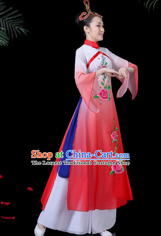 Chinese Classical Dance Umbrella Dance Costume Traditional Fan Dance Red Dress for Women