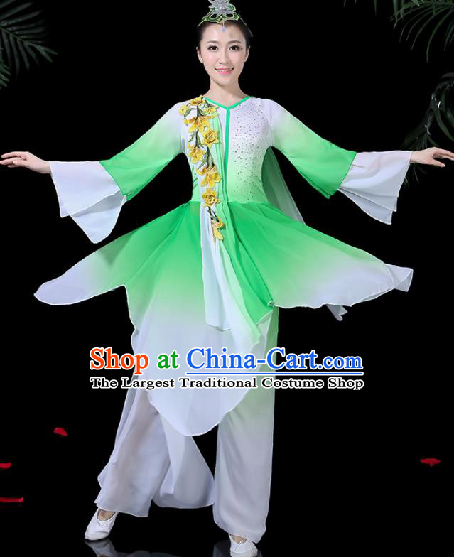 Traditional Fan Dance Green Dress Chinese Classical Dance Umbrella Dance Costume for Women