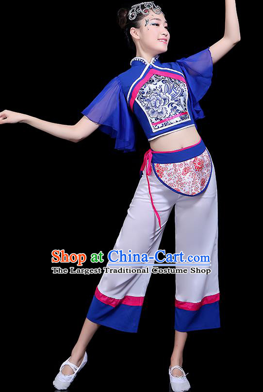 Traditional Fan Dance Yangko Costumes Chinese Folk Dance Umbrella Dance Costume for Women