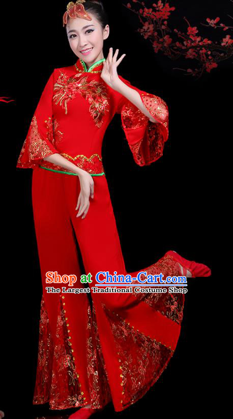 Traditional Fan Dance Yangko Red Lace Costumes Chinese Folk Dance Umbrella Dance Costume for Women
