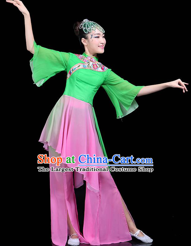 Traditional Classical Dance Green Dress Chinese Folk Dance Umbrella Dance Costume for Women