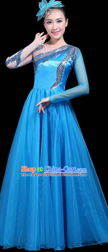 Professional Dance Modern Dance Costume Stage Performance Chorus Blue Long Dress for Women