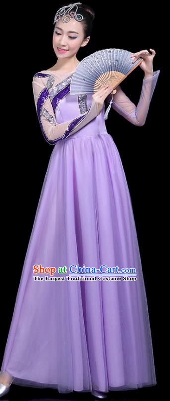 Professional Dance Modern Dance Costume Stage Performance Chorus Purple Long Dress for Women