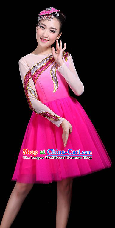 Professional Dance Modern Dance Rosy Bubble Dress Stage Performance Chorus Costume for Women