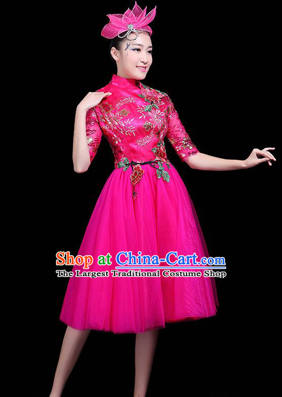 Professional Dance Modern Dance Rosy Dress Stage Performance Chorus Costume for Women