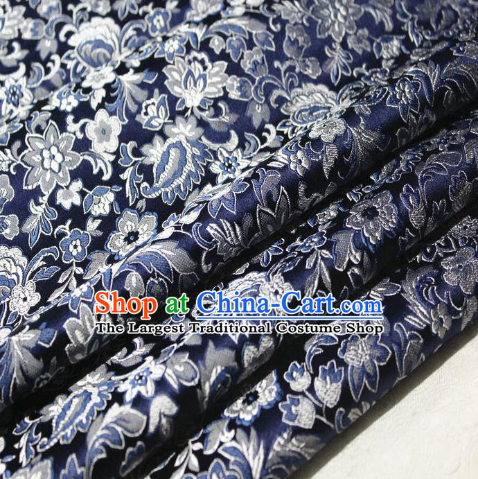 Chinese Traditional Cheongsam Cloth Tang Suit Navy Brocade Fabric Silk Material Drapery