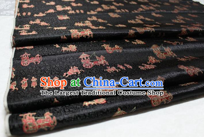 Chinese Traditional Cheongsam Cloth Tang Suit Carriage Pattern Black Brocade Fabric Silk Material Drapery