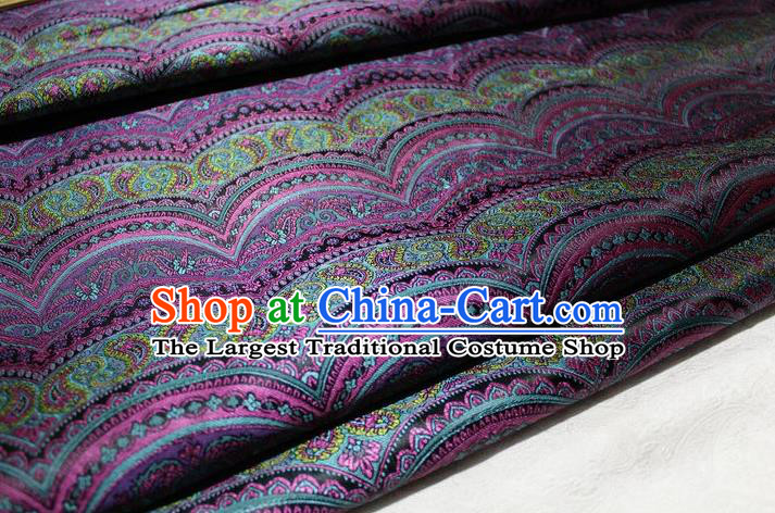Chinese Traditional Cheongsam Cloth Tang Suit Classical Pattern Purple Brocade Fabric Silk Material Drapery