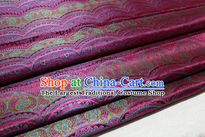 Chinese Traditional Cheongsam Cloth Tang Suit Classical Pattern Rosy Brocade Fabric Silk Material Drapery
