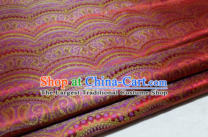 Chinese Traditional Cheongsam Cloth Tang Suit Classical Pattern Red Brocade Fabric Silk Material Drapery