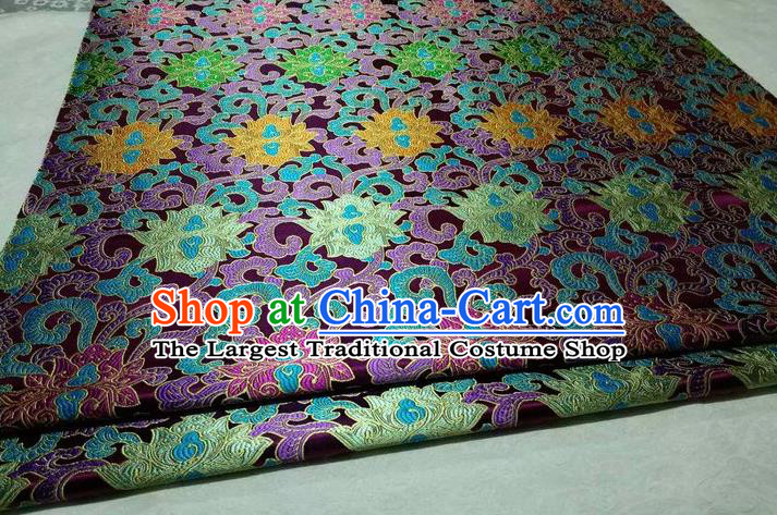 Chinese Traditional Cheongsam Cloth Tang Suit Palace Pattern Purple Brocade Fabric Silk Material Drapery