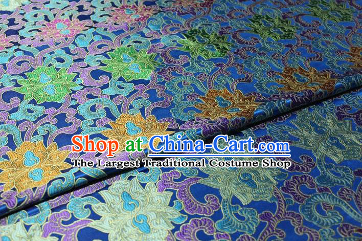 Chinese Traditional Cheongsam Cloth Tang Suit Palace Pattern Blue Brocade Fabric Silk Material Drapery