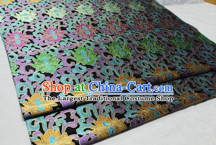 Chinese Traditional Cheongsam Cloth Tang Suit Palace Pattern Black Brocade Fabric Silk Material Drapery