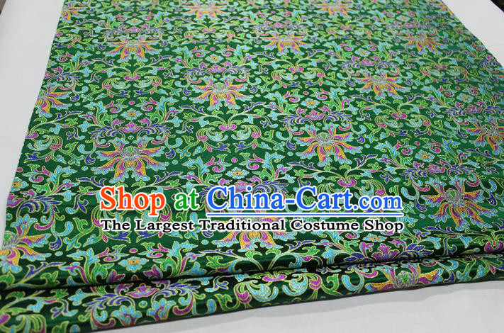 Chinese Traditional Cheongsam Cloth Tang Suit Green Brocade Fabric Silk Material Drapery