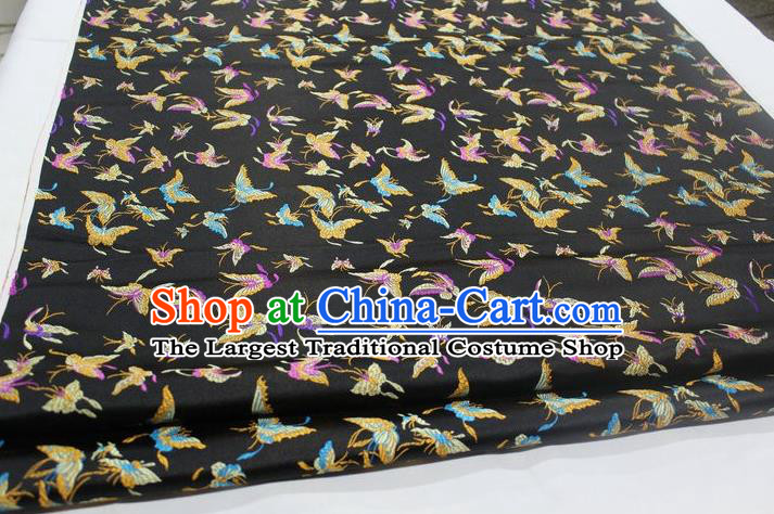 Chinese Traditional Cheongsam Cloth Tang Suit Butterfly Pattern Black Brocade Fabric Silk Material Drapery