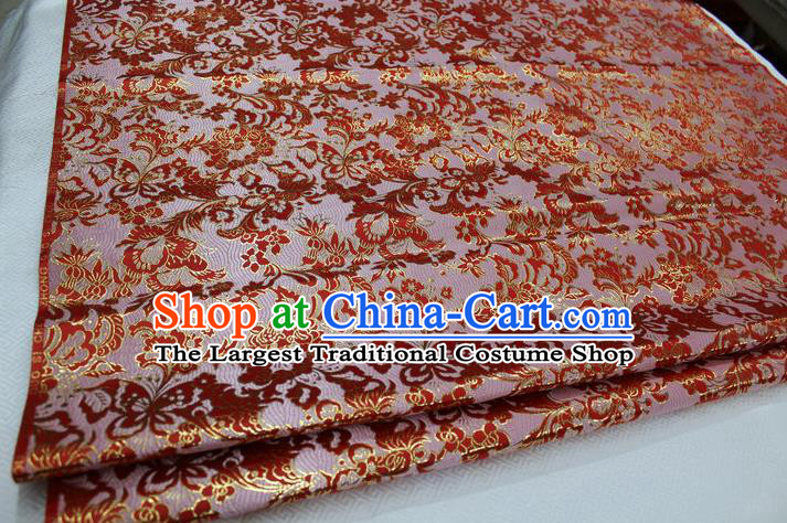 Chinese Traditional Cloth Mongolian Robe Red Brocade Fabric Tang Suit Silk Material Drapery