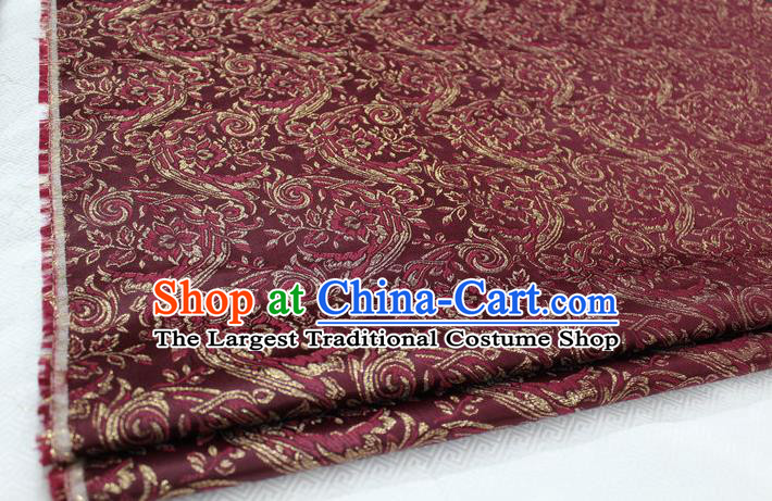 Chinese Traditional Cloth Mongolian Robe Wine Red Brocade Fabric Tang Suit Silk Material Drapery