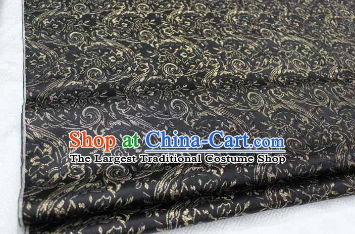Chinese Traditional Cloth Mongolian Robe Black Brocade Fabric Tang Suit Silk Material Drapery
