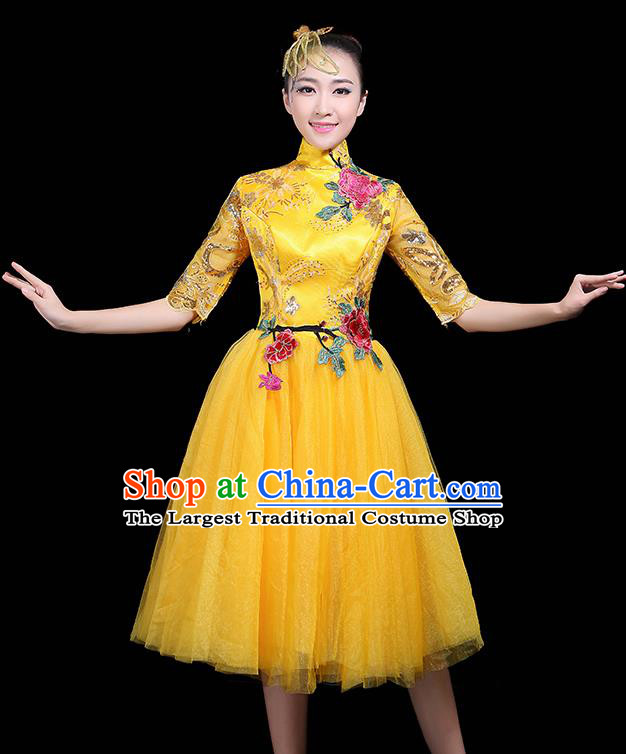 Professional Dance Modern Dance Yellow Dress Stage Performance Chorus Costume for Women