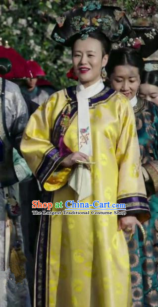 Ancient Ruyi Royal Love in the Palace Chinese Qing Dynasty Empress Dowager Costumes and Headpiece Complete Set