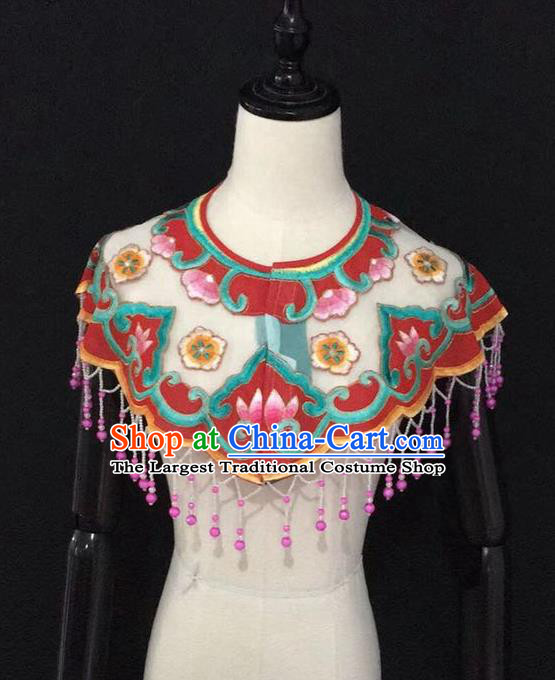 Chinese Traditional Beijing Opera Diva Accessories Peking Opera Costume Embroidered Red Cloud Tippet for Adults