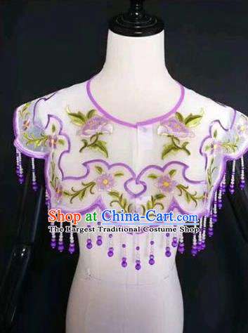 Chinese Traditional Beijing Opera Diva Accessories Peking Opera Costume Embroidered Purple Cloud Tippet for Adults