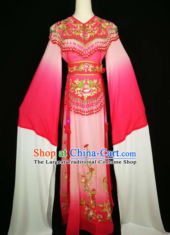 Chinese Traditional Beijing Opera Diva Embroidered Peony Pink Dress Peking Opera Princess Costume for Adults