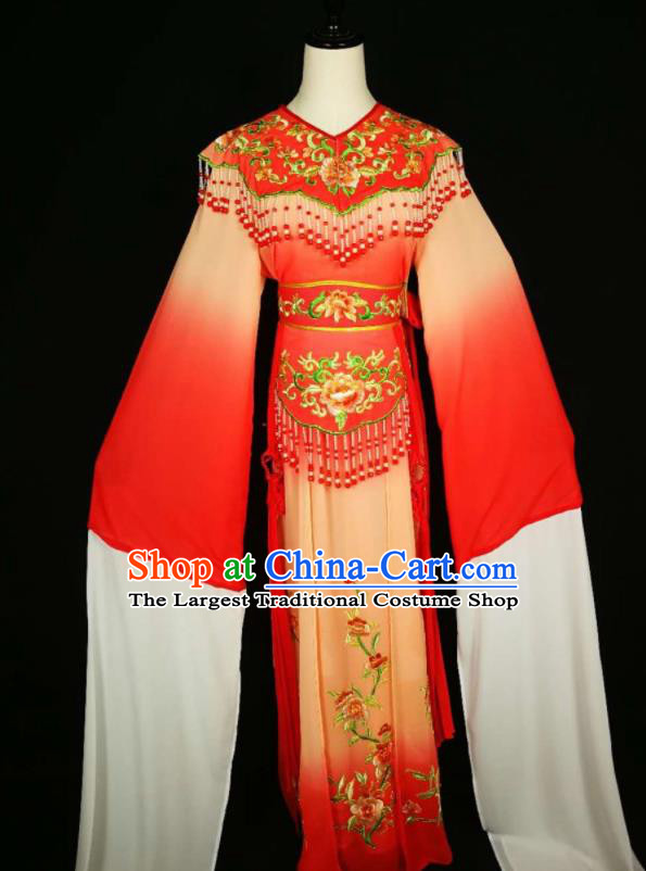 Chinese Traditional Beijing Opera Diva Embroidered Peony Red Dress Peking Opera Princess Costume for Adults