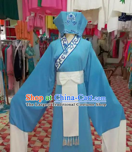 Chinese Traditional Beijing Opera Scholar Blue Robe Peking Opera Niche Costume and Hat for Adults
