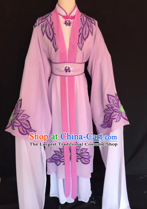 Chinese Traditional Beijing Opera Diva Lilac Clothing Peking Opera Buddhist Nun Costume for Adults