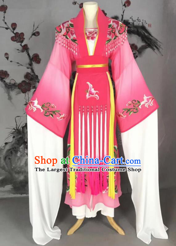 Chinese Traditional Beijing Opera Princess Rosy Hanfu Dress Peking Opera Diva Water Sleeve Costume for Adults