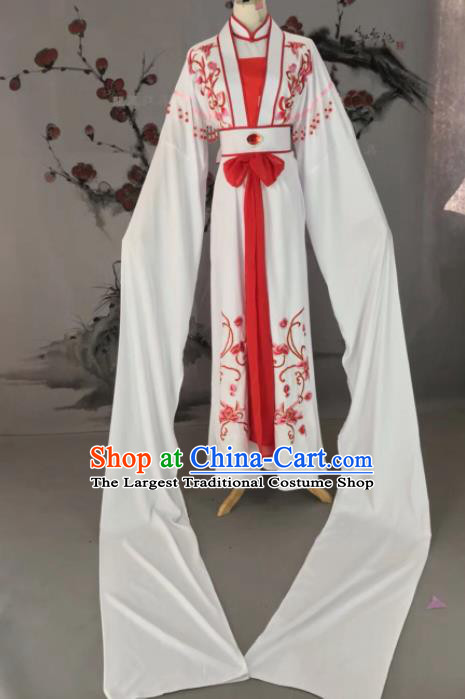 Chinese Traditional Beijing Opera Diva Embroidered Costume White Hanfu Dress for Adults