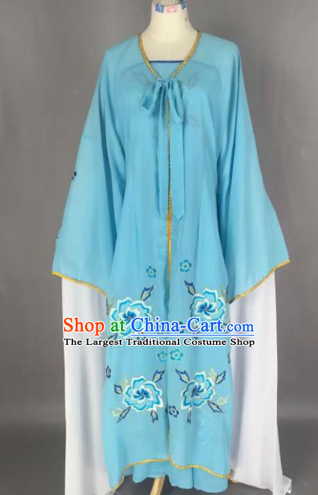 Chinese Traditional Beijing Opera Diva Costume Princess Blue Hanfu Dress for Adults