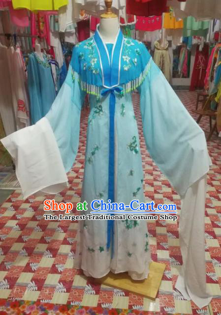 Chinese Traditional Beijing Opera Diva Costume Princess Embroidered Blue Hanfu Dress for Adults